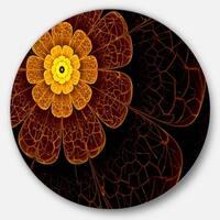Designart 'Symmetrical Orange Fractal Flower' Digital Art Floral Disc Metal Artwork