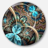 Designart 'Light Blue Fractal Flower' Digital Art Floral Circle Wall Art