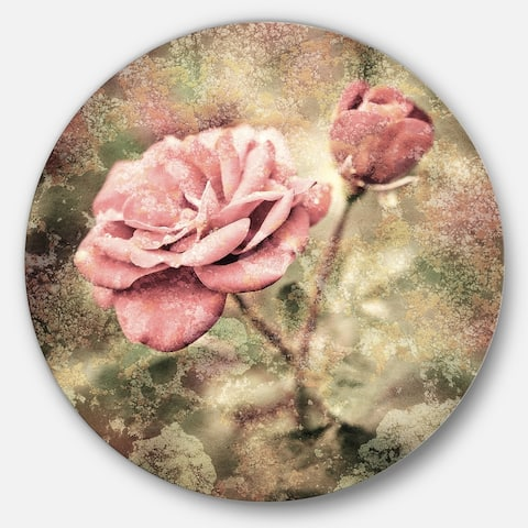Designart 'Vintage Pink Roses with Water Drops' Floral Circle Wall Art