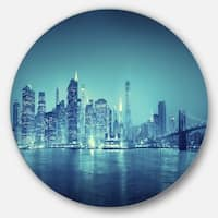 Designart 'Blue New York at Night' Cityscape Digital Art Large Disc Metal Wall art