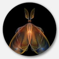 Designart 'Orange Fractal Butterfly in Dark' Abstract Art Round Metal Wall Art