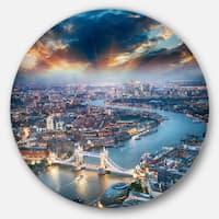 Designart 'Aerial View of London at Dusk' Cityscape Photo Circle Metal Wall Art
