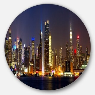 Designart 'New York Skyline at Night' Cityscape Photo Disc Metal Artwork