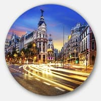 Designart 'Madrid City Center' Cityscape Photography Large Disc Metal Wall art