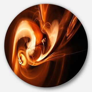 Designart 'Fractal Smoke Texture Brown' Abstract Digital Art Disc Metal Artwork
