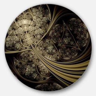 Designart 'White Metallic Fabric Pattern' Digital Art Large Disc Metal Wall art