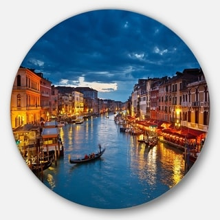 Designart 'Grand Canal at Night Venice' Cityscape Photo Disc Metal Wall Art