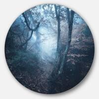 Designart 'Beautiful Autumn in Forest' Landscape Photo Disc Metal Artwork