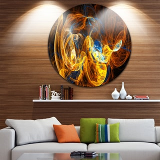 Designart 'Fractal Smoke Texture Orange' Abstract Digital Art Circle Wall Art