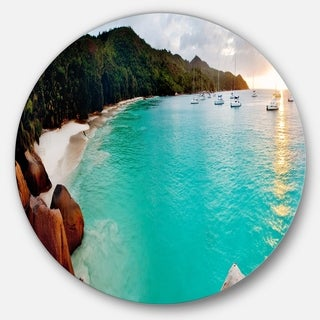 Designart 'Tropical Beach with Blue Waters' Seascape Photo Disc Metal Artwork