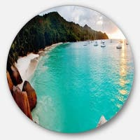 Designart 'Tropical Beach with Blue Waters' Seascape Photo Disc Metal Artwork