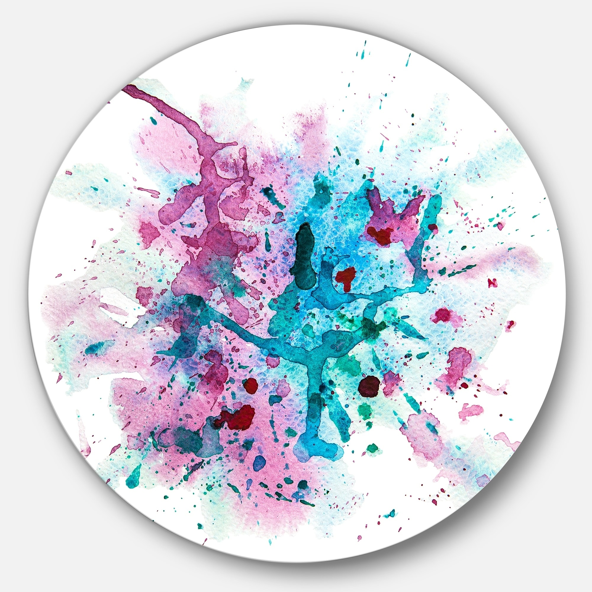 Designart Blue And Purple Paint Stain Abstract Watercolor Circle Wall Art Overstock 14263638