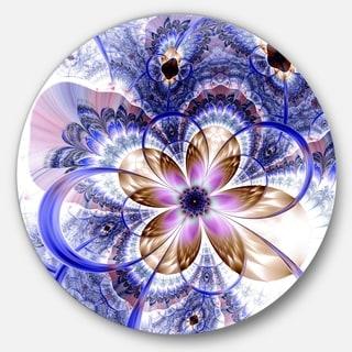 Designart 'Blue Light Fractal Flower' Digital Art Floral Disc Metal Wall Art