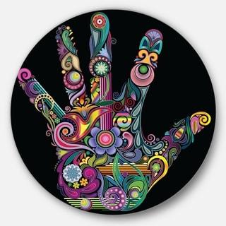 Designart 'Rainbow Hand with Multi Colors' Abstract Digital Art Round Metal Wall Art