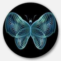 Designart 'Light Blue Fractal Butterfly in Dark' Abstract Art Large Disc Metal Wall art