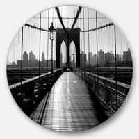 Designart 'Dark Brooklyn Bridge' Cityscape Photo Disc Metal Artwork
