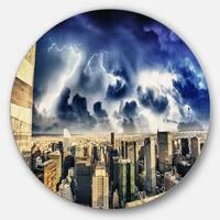 Designart 'Storm Above Manhattan Skyscrapers' Cityscape Photo Large Disc Metal Wall art