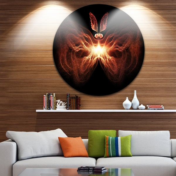 Designart 'Fire in Middle Fractal Butterfly' Abstract Art Round Wall Art