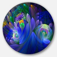 Designart 'Blue Fractal Flower Bouquet' Floral Abstract Art Circle Metal Wall Art