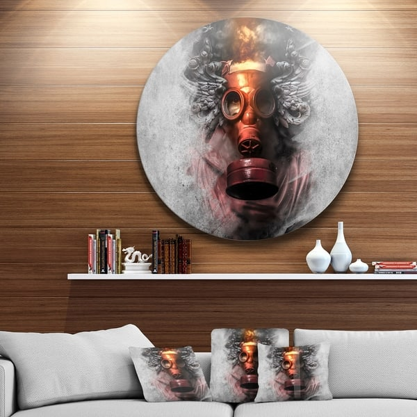 Designart Toxic Man In Mask Portrait Digital Art Disc Metal Artwork Overstock 14263676