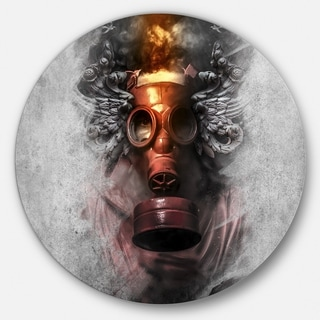 Designart 'Toxic Man in Mask' Portrait Digital Art Disc Metal Artwork