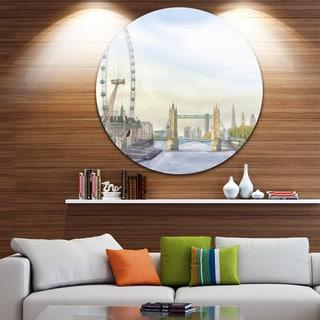 Designart 'London Bridge' Cityscape Photography Disc Metal Wall Art