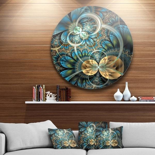 Shop Designart Symmetrical Blue Gold Fractal Flower