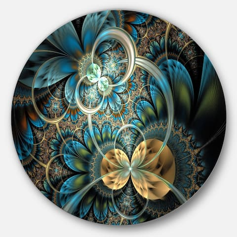 Designart 'Symmetrical Blue Gold Fractal Flower' Digital Art Circle Metal Wall Art