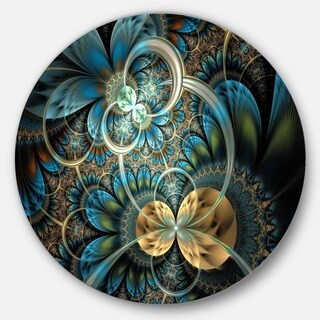 Designart 'Symmetrical Blue Gold Fractal Flower' Digital Art Circle Metal Wall Art (4 options available)