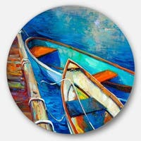 Designart 'Boats and Pier in Blue Shade' Seascape Painting Circle Metal Wall Art