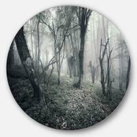 Designart 'Vintage Forest Filled with Fog' Landscape Photo Round Wall Art