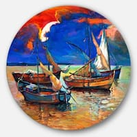 Designart 'Fishing Boats Under Blue Sky' Seascape Painting Large Disc Metal Wall art