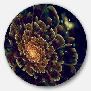 Designart 'Orange Metallic Fractal Flower' Digital Art Circle Wall Art