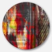 Designart 'Red Decorative Design' Modern Abstract Circle Wall Art