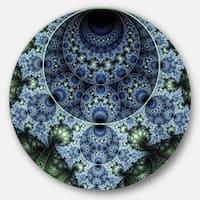 Designart 'Blue and Green Spiral Fractal Art' Digital Round Metal Wall Art