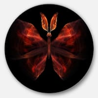 Designart 'Red Fractal Butterfly in Dark' Abstract Art Round Metal Wall Art