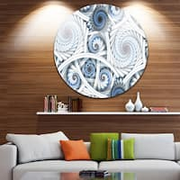 Designart 'White Spiral with Blue Fractal Art' Abstract Digital Large Disc Metal Wall art