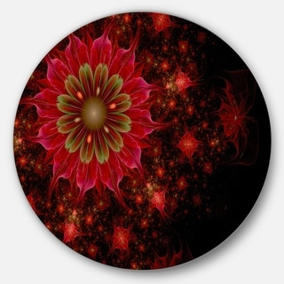 Designart 'Dark Red and Light Green Fractal Flowers' Digital Art Disc Metal Wall Art