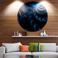 Designart 'Blue Fractal Flower in Dark' Floral Abstract Art Round Wall Art