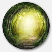 Designart 'Magic Green Forest' Landscape Photo Round Metal Wall Art