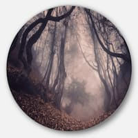 Designart 'Vintage Foggy Forest Trees' Landscape Photo Round Wall Art