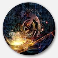 Designart 'Lights of Gears' Abstract Digital Art Large Disc Metal Wall art