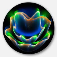 Designart 'Green Fractal Flower in Dark' Floral Abstract Art Disc Metal Wall Art