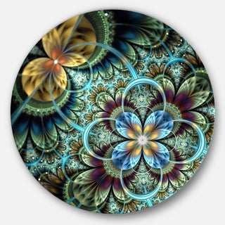 Designart 'Fractal Dark Orange Blue Flowers' Digital Floral Large Disc Metal Wall art