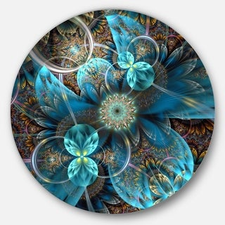Designart 'Fractal Blue Flowers' Digital Art Floral Round Wall Art