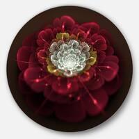 Designart 'Red Fractal Flower with White' Floral Digital Art Disc Metal Artwork