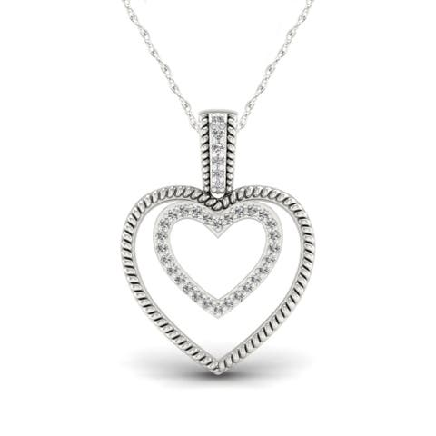 1/10ct TDW Diamond Heart Necklace in Sterling Silver - White