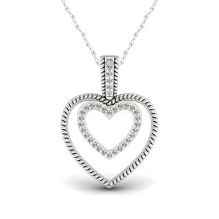 1/10ct TDW Diamond Heart Necklace in Sterling Silver