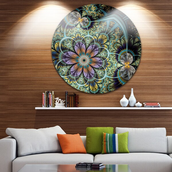 Designart 'Symmetrical Green Fractal Flower' Digital Art Floral Disc Metal Wall Art