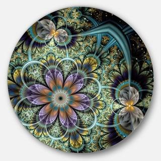 Designart 'Symmetrical Green Fractal Flower' Digital Art Floral Disc Metal Wall Art